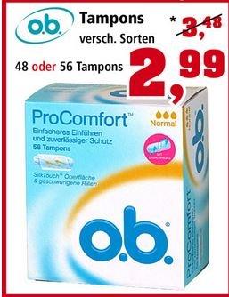 o.b. ProComfort oder Mini Tampons € 2,99 statt € 3,49