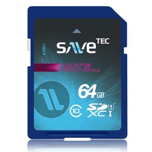 64 GB SaveTec SDXC C10 U1 UHS-1 Speicherkarte Extreme Speed Class10 Class 10 64GB Full HD Video bis 60MB/s für Samsung Canon Nikon Sony Digital