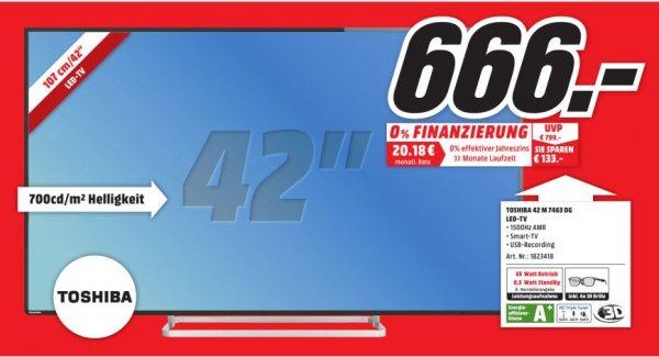 [Lokal] Toshiba 42M7463DG, 106 cm (42 Zoll), 1080p (Full HD) LED Fernseher, silber/schwarz, Energieeffizienzklasse A+ für 666,-@Mediamarkt Porta Westfalica