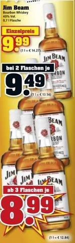 [LOKAL, trinkgut] Jim Beam Bourbon Whiskey - 0,7l - 8,99€ je Flasche bei 3 Flaschen