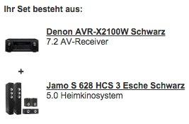 Denon AVR-X2100W + S 628 HCS 3 ES für 888€ @ Redcoon Wochendeal - Receiver + 5.0 Lautsprecherset