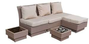 Loungegruppe Gartenmöbel Set Polyrattan MALI Java Exclusive 6-tlg. - 289,95 EUR @ amazon