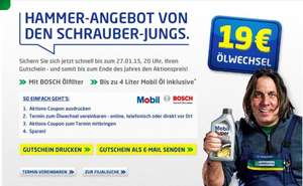 EUROMASTER: Ölwechsel inkl. 4 Liter Mobil Öl & Bosch Ölfilter  NUR 19,00 EURO