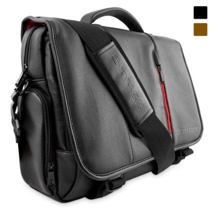 [Amazon.de] Schultertasche aus schwarzem Leder für Laptops von Snugg