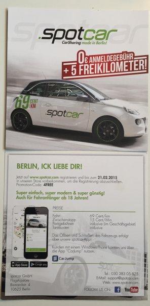 Kostenlose Anmeldung + 5 Freikilometer bei spotcar - Carsharing in Berlin