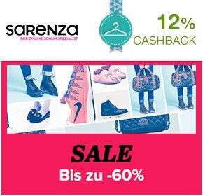 60% Sale bei Sarenza + gratis Versand + 12% Cashback