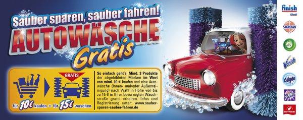 Für 10€Produkte von Finish/Calgonit, Sagrotan, Air Wick, Vanish, Calgon, Cillitt BANG, Hoffmann's kaufen und Autowäsche im Wert von 15€ geschenkt