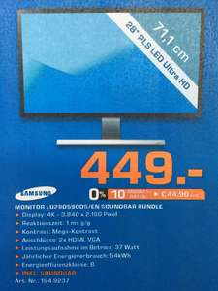 Samsung 4K Monitor 1ms LU28D590 + Soundbar / Sin City 2 DVD-BluRay-BluRay3D / LG 65UB950V TV Saturn KW5 Bundesweit