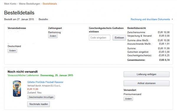 (AMAZON) Gillette ProGlide Flexball Rasierer (mit Gutschein) für 0,74€