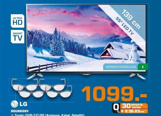 LG 55UB836V, 139 cm (55 Zoll), 2160p (Ultra HD) LED Fernseher für 1099,-@Saturn