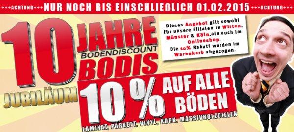 10 % auf alle Böden (Laminat, Parkett, Vinyl etc.)