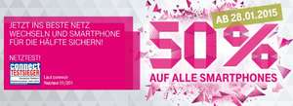 T-Mobile - 50% auf alle Smartphones