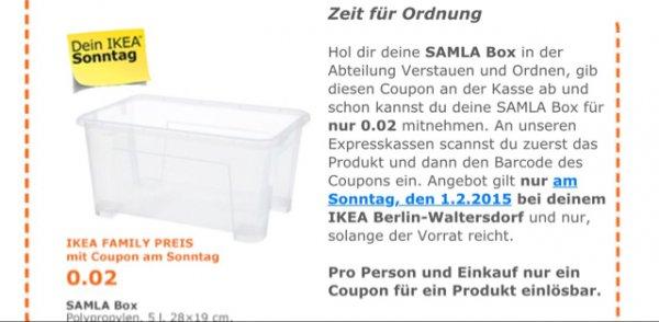Samla Box bei IKEA Waltersdorf nur am 1.2