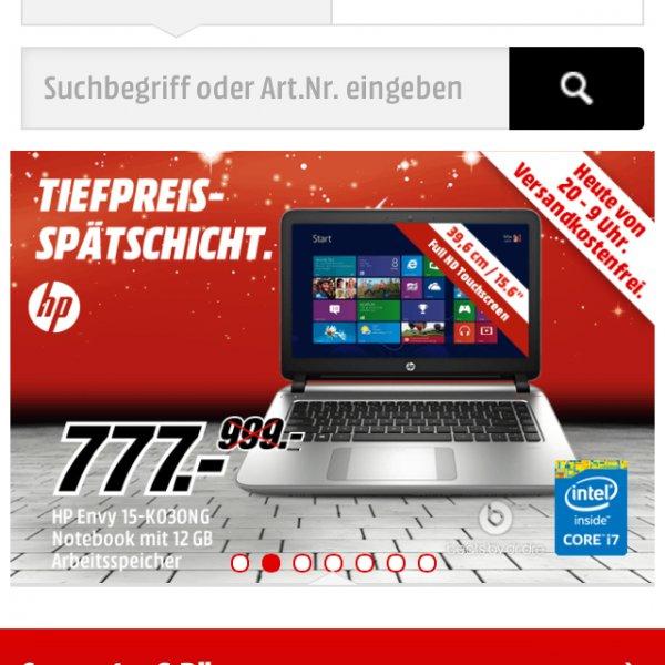 Media Markt Tiefpreisangebot HP Envy 15 Notebook mit i7 Prozessor, 12GB Arbeitsspeicher, 1TB Festplatte und Touchdisplay