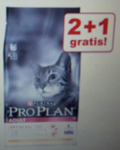 Pro Plan 2 + 1 gratis / 3 x 1,5 kg Katzenfutter Adult Huhn (und weitere Sorten) + Qipu 3%