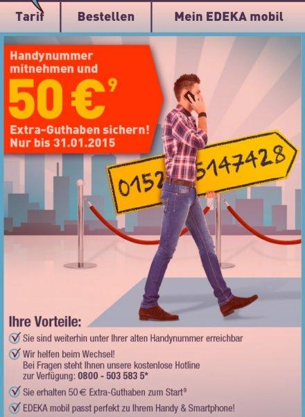 ABGELAUFEN Günstiges Prepaid (D2) : Edeka mobile; 300 Einheiten +300 MB= 8,95€ (50€ Rufnummermitnahmebonus bis 31.01.15)