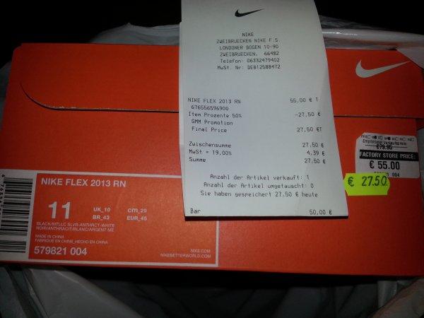 lokal Nike @ The Styles Outlet Zweibrücken Nike flex 2013 rn (schwarz oder weiß/rot)