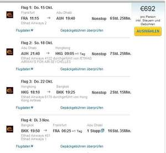 EUR 692,- für Flüge Frankfurt - Abu Dhabi - Hong Kong - Bangkok - Frankfurt