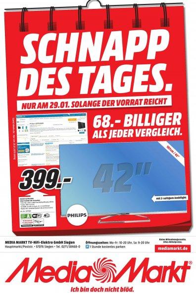 [Lokal Siegen] MediaMarkt TV Philips 42PFK6309 399€ NUR Heute 29.01.2015