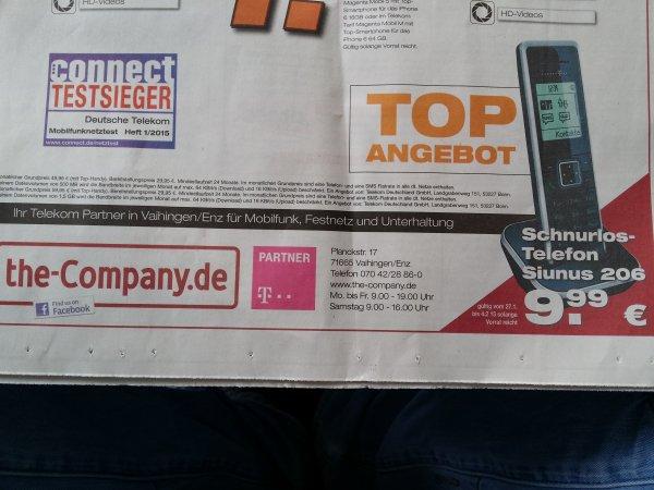[Lokal]T-Home Sinus 206 Schnurlostelefon für nur 9,99 € (Idealo 23.37€)