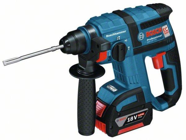 Professioneller Akkubohrhammer GBH 18 V-EC von Bosch inkl. 2 x Akku 18V 4,0 Ah, Ladegerät und L-Boxx
