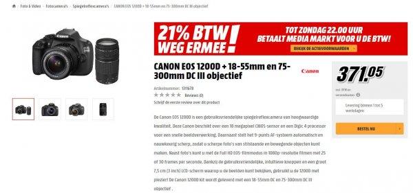 Grenzgänger: Canon EOS 1200D Kit 18-55 mm + 75-300 mm = 371,05€ MM Niederlande (21,9% billiger als Idealo)