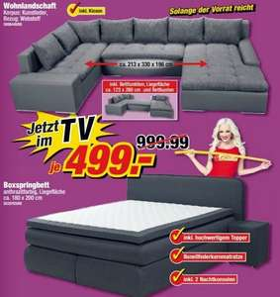 poco frankfurt wohnlandschaft 213x330x196cm kunstleder webstoff inkl kissen boxspringbett. Black Bedroom Furniture Sets. Home Design Ideas