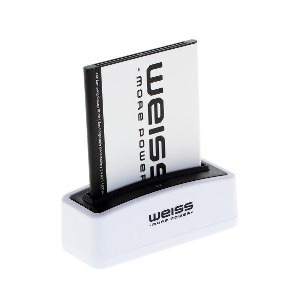 Galaxy S3 Mini / S4 Mini Akku + Ladegerät und microUSB Kabel von Weiss für 9,79€ (s3) und 11,29€ (s4)  bei Amazon