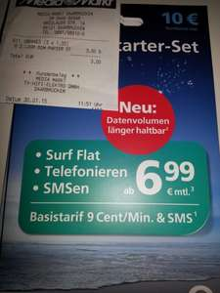 [Lokal MM Saarbrücken] o2 Prepaid Karten für 1€ mit 10€ Startguthaben
