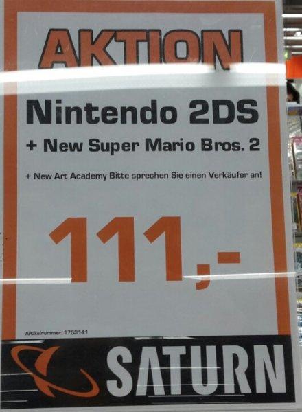 (Lokal Neu Isenburg) Nintendo 2DS + New Super Mario Bros.2 + New Art Academy bei Saturn