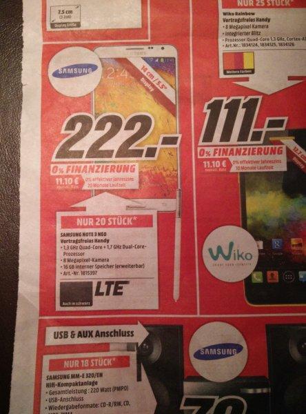 Lokal Mediamarkt Neunkirchen/Saar Samsung Galaxy Note 3 Neo weiß oder schwarz für 222,00 €