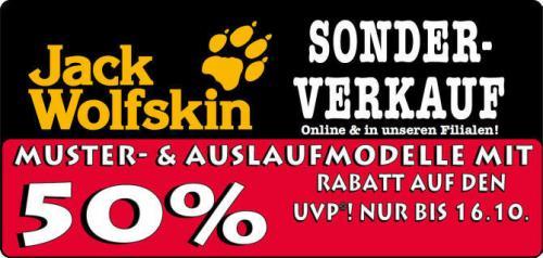 50% Rabatt auf Jack Wolfskin-Muster und -Auslaufmodelle