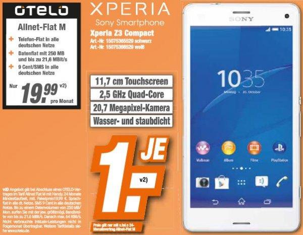 [Lokal HEM Expert BW] Sony Xperia Z3 Compact + OTELO Allnet-Flat M für 24 x 19,99€/Monat + 1,- €