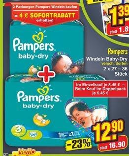 [Nur HEUTE] NETTO Markendiscount PAMPERS 2 x Sparpacks für 12,90
