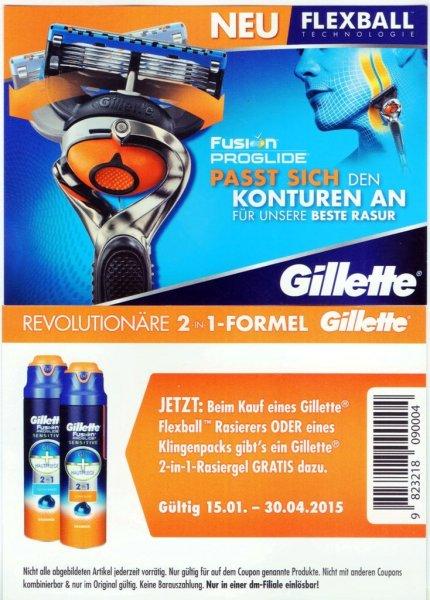 [ dm ] Gillette Flexball Rasierer + Gillette Fusion 2in1 RAsiergel für  4,95 €