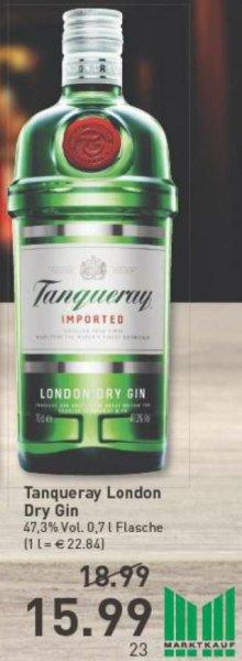 [Marktkauf lokal, z.B. Bielefeld, Gelsenkirchen, Münster...] Tanqueray London Dry Gin 0,7l mit 47% für den gelegentlichen Winterabend-Drink