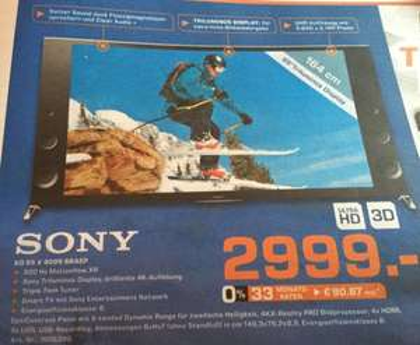 Lokal [Saturn Göttingen] Sony KD 65x9005 BBAEP Ultra HD (4K) Fernseher