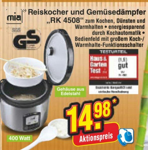 [Netto Lokal und Online] Mia RK 4508 Reiskocher und Gemüsedämpfer 14.98€ (Online keine VSK!, Offline: Mo 02.02. bis Sa 07.02.) (idealo ~36€ inkl VSK)