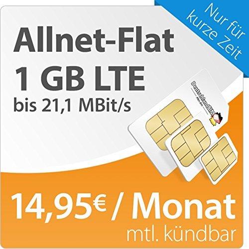 Amazon Blitzdeal -  DeutschlandSIM LTE S [SIM, Micro-SIM und Nano-SIM] monatlich kündbar (1 GB LTE Daten-Flat mit max. 21,1 MBit/s, Telefonie-Flat, 9ct pro SMS, 5 Euro/Monat ) O2-Netz