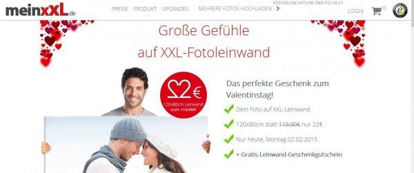 XXL-Fotoleinwand 120x80cm bei meinxxl.de nur heute Das perfekte Geschenk zum Valentinstag!