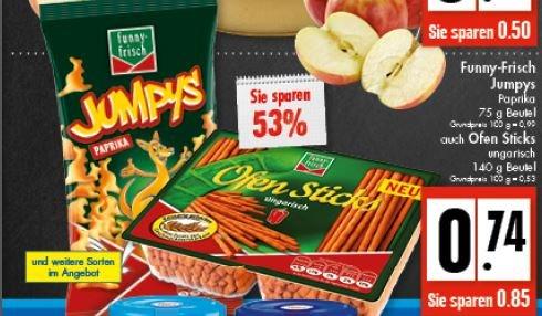 (lokal) Funny Frisch Jumpys, Frit-Sticks, Ofen Sticks und andere für 0,74€ bei EDEKA Kiwall+Schürmann