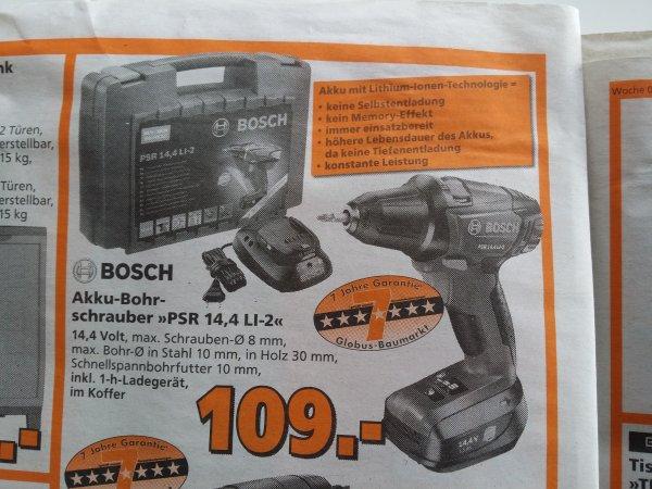 Bosch PSR 14,4 LI-2 Akkubohrschrauber für 109 € mit 7 Jahre Garantie bei Globus Baumarkt anstatt 114.70 bei idealo.de