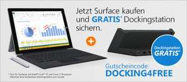 Surface Pro 3 Core i5/i7 mit kostenloser Dockingstation bei Notebooksbilliger min. 999€ Ersparnis 125€