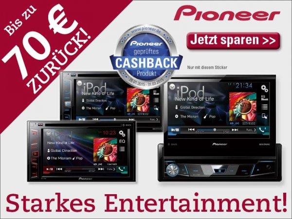 Bis zu 70 € Cashback auf Pioneer Autoradios