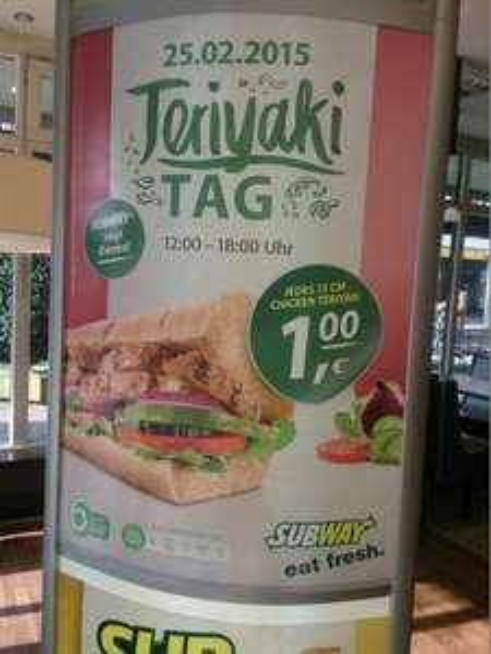[LOKAL] Teriyaki Tag am 25.02.2015 in Stuttgart Vaihingen - 15cm Chick Teriyaki für 1€