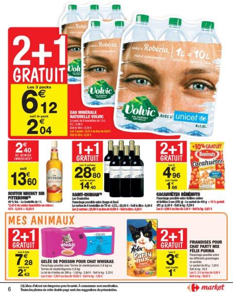 Frankreich/Karlsruhe/Freiburg Carrefour-Market VOLVIC natürliches Mineralwasser ohne PFAND