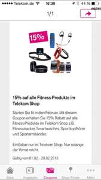15% Rabatt auf Fitness-Produkte im Telekom Shop