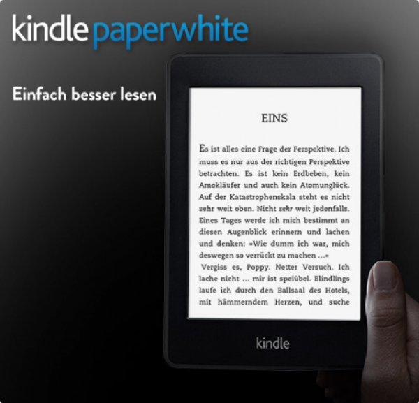 Kindle Paperwhite, 15 cm (6 Zoll) hochauflösendes Display (212 ppi) mit integrierter Beleuchtung, WLAN + 5 Ebooks gratis!