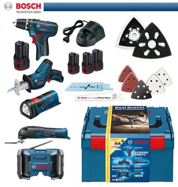 Bosch blau 5 Tool-Set (GSA GOP GML GLI GSR) in L-Boxx mit 4 Akkus! und Zubehör