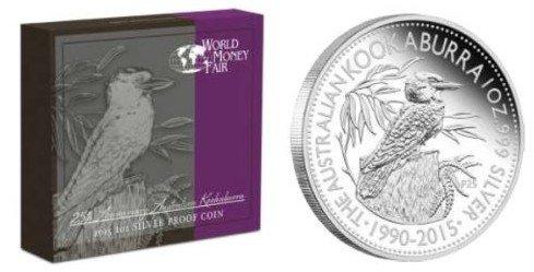 Numismatik: Kookaburra Jubiläumsausgabe World Money Fair 2015 in PP